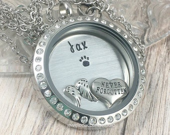 Dog Memorial Locket, Pet Loss Necklace, Loss of Dog Gift, Pet Remembrance, Cat Memorial, Sympathy Gift, Hand Stamped Locket, In Memory Of