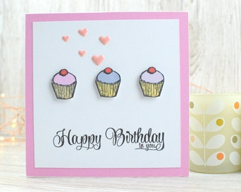 Cupcake Birthday Card; Birthday Cake Card; Greetings Card; Cards for Him; Cards for Her; Handmade Card; Children's Birthday Card