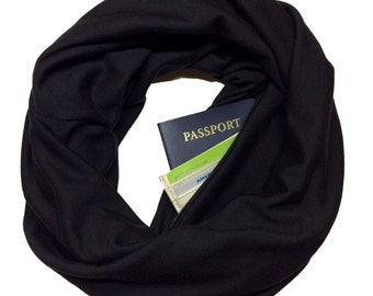 Back in Black | Hidden Pocket Scarf | Infinity Scarf Passport Wallet Travel Scarf Black Money Belt Holder Gift Travel Secret Pocket Zipper