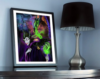 Maleficent Disney Villain Drawing Print