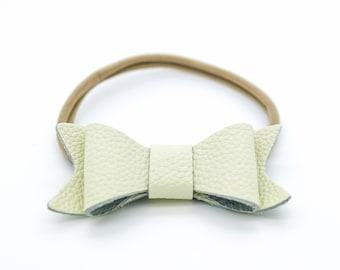 Baby Headband, Ivory Leather Bow, Baby Leather Bow Headband, Leather Bow, Baby Leather Hair Bow, 123