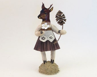 Vintage Inspired Spun Cotton Doe/Deer Girl Figure (MADE TO ORDER)