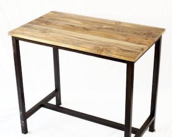 Table high industrial metal and wood