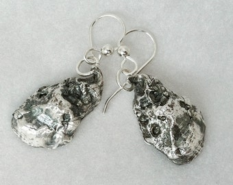 Real Oyster Jewelry  - Sterling Silver Shell Earrings - Chef Gift -  Seaside Jewelry - Beach Jewelry - Real Shell Jewelry - Nature Inspired