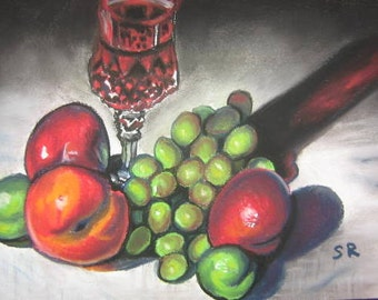 Red Wine Still Life, pastel