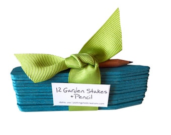 Blue Garden Stakes and Pencil - Garden Markers - Planting Marker - Plant Stakes - Gardening - Gifts for Mom - Mother's Day - Planting