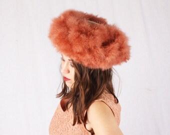 Vintage 1960s Peach Mauve Feather Velvet Pillbox Hat / Rori Original