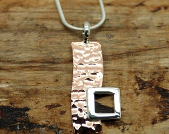 Sterling Silver and Copper Rectangle Hammered Pendant and Chain - Silver and Copper Jewellery (EYP001)