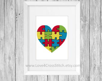 Autism Cross Stitch Pattern Modern, Autism Puzzle Cross Stitch, Pattern PDF, Puzzle Heart Cross Stitch, Autism Awareness Modern Cross Stitch