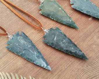 Green Arrowhead Necklace Crystal Arrowhead Necklace Agate Arrowhead Necklace Boho Arrowhead Necklace Arrow Necklace Southwest Necklace
