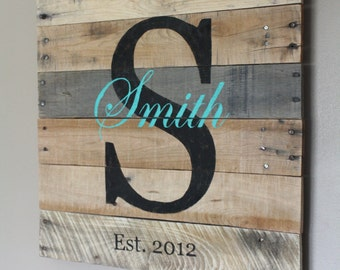Family Name Sign. Pallet Sign. Wedding Gift. Anniversary Gift. Last Name. Established date. Rustic Custom Name. Gift Idea. Personalize.