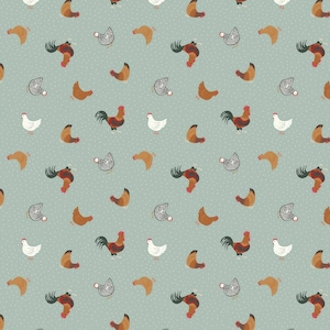 Tiny Hens Chickens Duck Egg Blue Small Things On The Farm Animal Cotton Fabric by Lewis and Irene