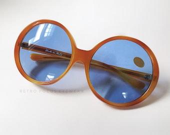 Wide 70's Oversized Non Prescription Orange Amber Tortoise Sunglasses Blue Glass Lenses Made in Italy Glasses Eyeglasses Frames Vintage