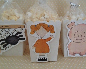 Charlotte's Web Party Popcorn or Favor Boxes - Set of 10