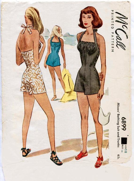 1940s 40s vintage swimsuit sewing pattern bikini halter high