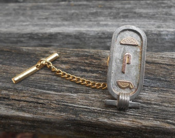 Vintage Cartouche Tie Tack. Gift For Groom, Groomsmen, Dad, Wedding, Anniversary, Birthday, Christmas, Father's Day.