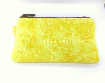 Dragonfly yellow gift for her, zip coin purse portefeuille women wallet, cardholder id1370133, money purse change, cosmetic travel organizer