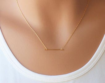 Minimalist Bar Necklace, Layering Necklace, Gold filled, Gold Necklace, Horizontal Bar Necklace, Gold Bar Necklace, Gift for wife