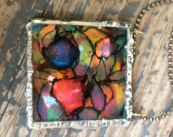 Soldered Pendant, Stained Glass Look, Silver Pendant, Textured Pendant, Greens, Blues, Yellows, Reds