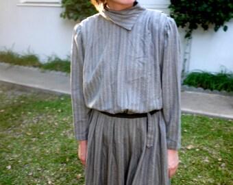 Vintage 1980s Grey Belted Dress