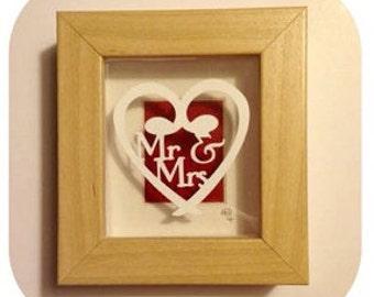 Mr and mrs mini frame papercut template