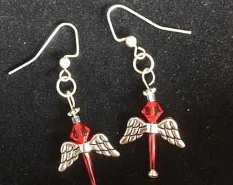 Angel dangels made with Ruby Swarovski crystal and Czech glass beads