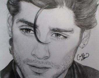 PRINT Zayn Malik One Direction Pencil Drawing