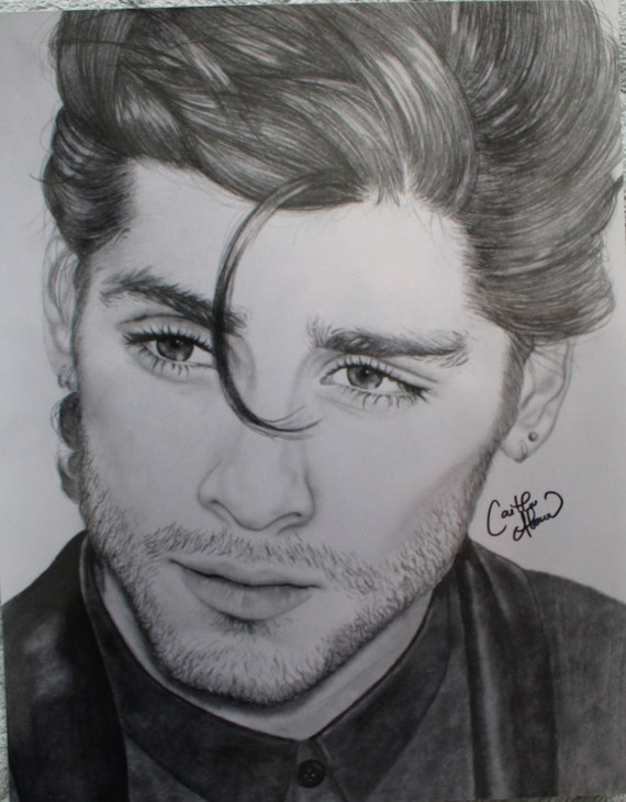 Print zayn malik one direction pencil drawing