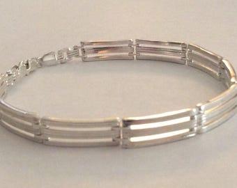 Bar link silver bracelet