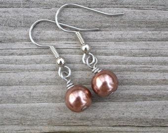 Dark Brown Glass Pearls . Earrings
