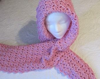 Crochet Scarf,Hooded Scarf,Boho Scarf,Pink,Pink Hooded Scarf,Fashionable Scarf,Stylish Scarf,Romantic Scarf,Womens Fashion,Winter Scarf,Gift