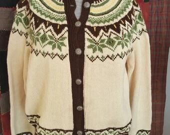 Vintage wool Norwegian sweater button-up size medium handknit