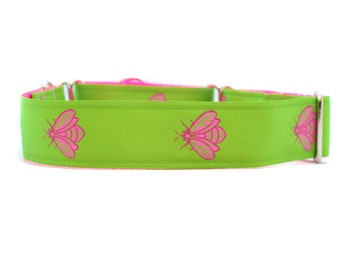 Wide 1 1/2 inch Adjustable Buckle or Martingale Dog Collar in Lime Bees