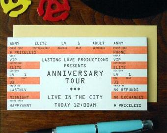 letterpress anniversary rock concert ticket greeting card happy anniversary orange black white