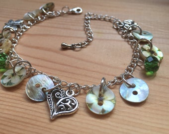 Pearly Green Flower Button Charm Bracelet