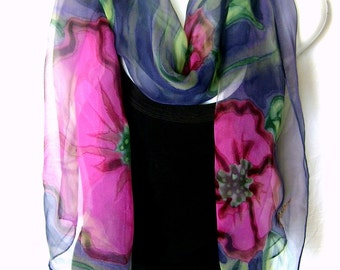 Hand Painted Silk Scarf, Floral, Hot Pink Poppies In Deep Purple And Mint Green, Silk Chiffon Scarf, Gift For Her