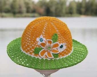 Crochet hat for kids Girl sun hat Toddler hat summer Beach hat yellow with flower Panama hat green Toddler girl hat with brim Flower sun hat