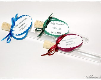 Test tubes as Guest Gifts communion/Confirmation (5 pcs)