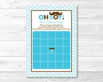 Cute Mustache Baby Shower Bingo Game / Mustache Baby Shower / Little Man Baby Shower / Chevron Pattern / Baby Boy / INSTANT DOWNLOAD A264