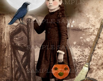 Halloween Vintage Photo Download, No.P42, Altered Photo, Halloween Witch, Instant Download. Witch with a Black Cat