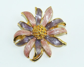 Vintage Gold Tone Pink and Purple Enamel Daisy Flower Stem Brooch