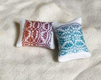 Handwoven Pincushion or Miniature Pillow, Cotton and Handspun Silk
