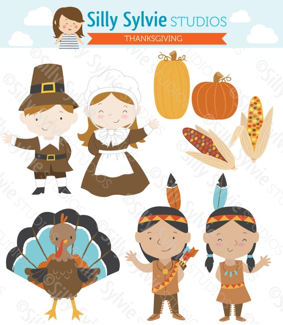 thanksgiving clip art pilgrims turkey native american rh etsy com Thanksgiving Clip Art pilgrim and indian clipart black and white