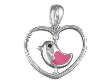PIPPA Pink Enamel Little Bird Spinner with Sterling Silver Pendant