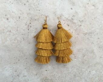 Cha Cha Gold Tassel Earrings, Antique Gold Earrings, Drop Earrings, Long Gold Earrings, Gold Silk Tassels,Tassle Earrings, Jewelry Gift