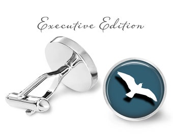 Aqua Seagull Cufflinks - Seagull Cuff Links - Sea Bird Cufflink (Pair) Lifetime Guarantee (S0363)