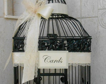 Black and Ivory Wedding Card Box | Wedding Card Holder | Wedding Birdcage | Birdcage Card Holder | Black Birdcage