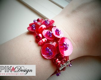 red beaded bracelet - Huge chunky bracelet perfect for a «punch» - BR009