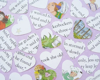 100 x 1 Inch Nursery Rhyme and Stories Confetti Shapes / Hearts, Balloons or Stars / Baby Shower, Birthday Party, Christening Book Decor