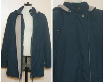 90s Dark Green Parka Jacket Medium Large Overized Hodded Winter Coat Grunge Normcore